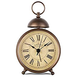 EMIROOM 5.5 Inch Retro Single Bell Loud Alarm Clock, Silent Non Ticking Battery Operated, Classic Small Table Alarm Clock for Bedroom (Roman Numerals)