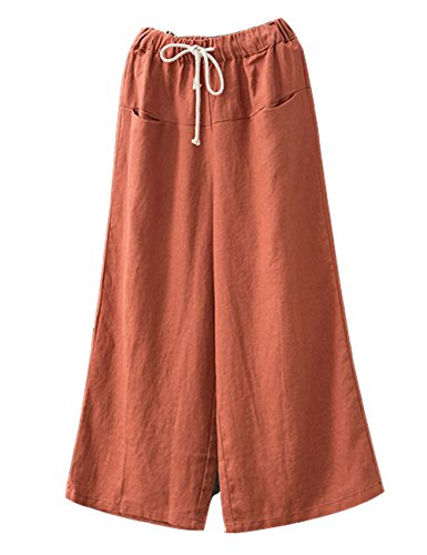 AURNEW Women's Linen Wide Leg Pants Elastic Drawstring Lounge Cropped Trousers (Orange) -