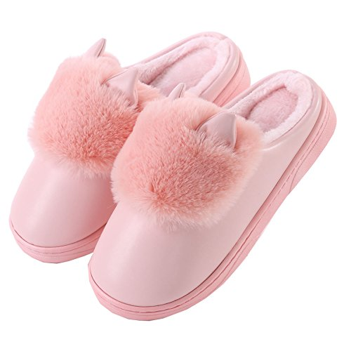 PU oídos de gato algodón zapatillas de casa-Unisexo invierno calentar felpa Botín con los zapatos luz Rose