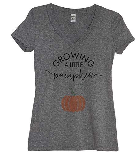 Growing A Little Pumpkin Women's Tri-Blend V Neck (Small)