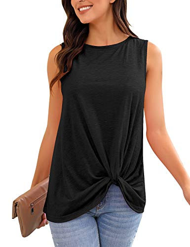 (LookbookStore Women's Casual Soft Summer Sleeveless Twist Knot Knit Tank Tops Solid Black Tee Shirts Size M US 8 10 )