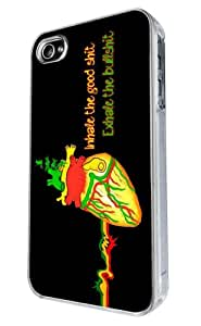 Iphone 4 4S Marijuana Brain Cannabis Weed Rasta Inhale The Good Quote Funky Design Fashion Trend Case Back Cover Metal and Hard Plastic Case-Clear Frame