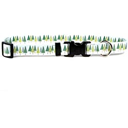 """Yellow Dog Design Winter Trees Dog Collar with Tag-A-Long ID Tag System-Medium-3/4 Neck 14 to 20""""/4"""""""