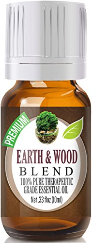 Earth & Wood Essential Oil Blend 100% Pure, Best Therapeutic Grade - 10ml - Cedarwood, Gurjum, Patchouli, and Sandalwood