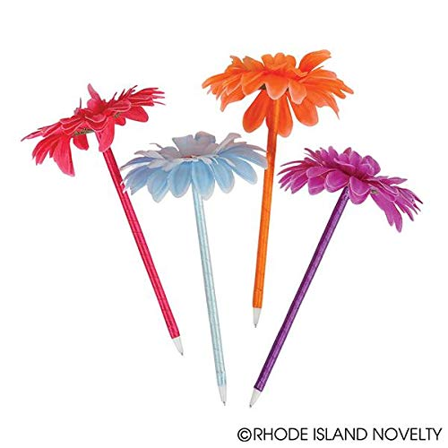 Rhode Island Novelty Lot of 12 Assorted Color Flower Daisy Pens - ()