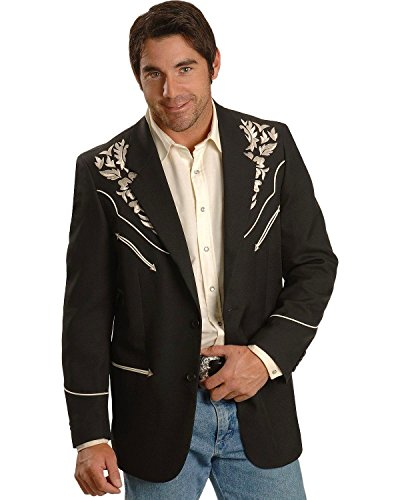 Scully Men's Floral Embroidered Western Jacket Black 46 R