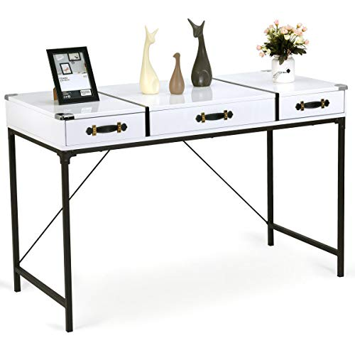 AK Energy 3 Top Drawer White Modern Desk Console Side Table Hallway Living Room Furniture Black Steel Leg - Table Glass Console Demilune
