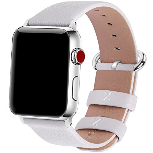 15 Colors for Apple Watch Bands 38mm, Fullmosa Yan Calf Leather Replacement Band/Strap with Stainless Steel Clasp for iWatch Series 0 1 2 3 Sport and Edition Versions 2015 2016 2017, 38mm White