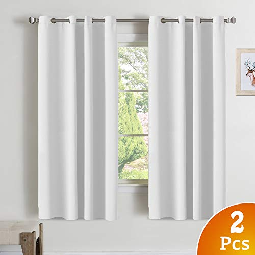 Turquoize Room Darkening White Curtains 50% Blackout Curtains for Living Room Grommet Top Thermal Insulated Grommet Room Darkening Curtains Drapes for Bedroom, White, 52