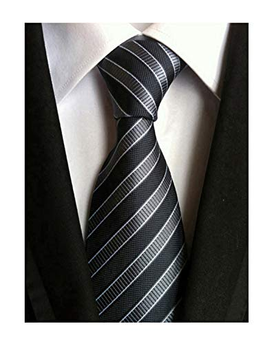 Secdtie Men's Striped Grey Black Jacquard Woven Silk Tie Formal Necktie ()