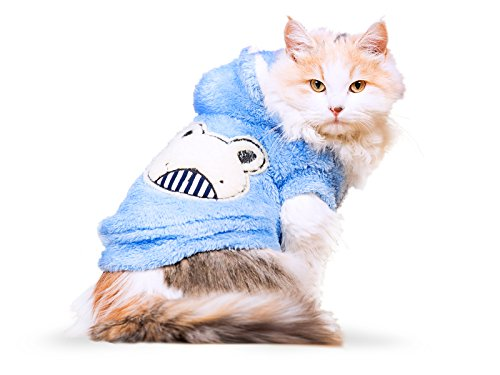 PLS Pet Halloween Hoodie for Cats,Hoodie for Dogs, Light Blue, Medium, Winter Dog Coat, Dog Costume, Cat Costume, Protects from Cold Weather, Halloween Sale ()