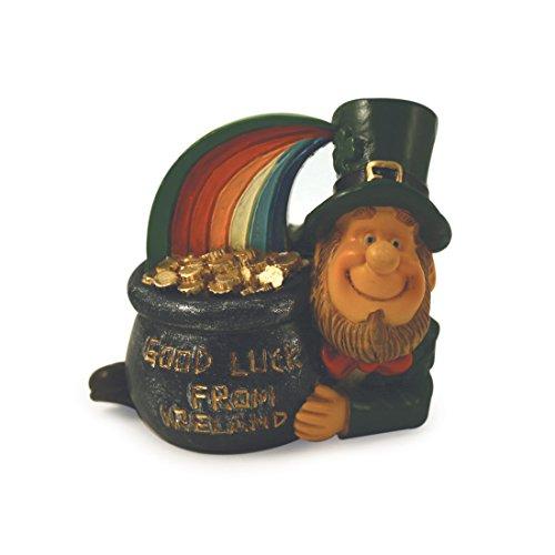 Carrolls Irish Gifts Lucky Folk Leprechaun with Rainbow & Crock of Gold with Good Luck from Ireland (Leprechaun Statue)
