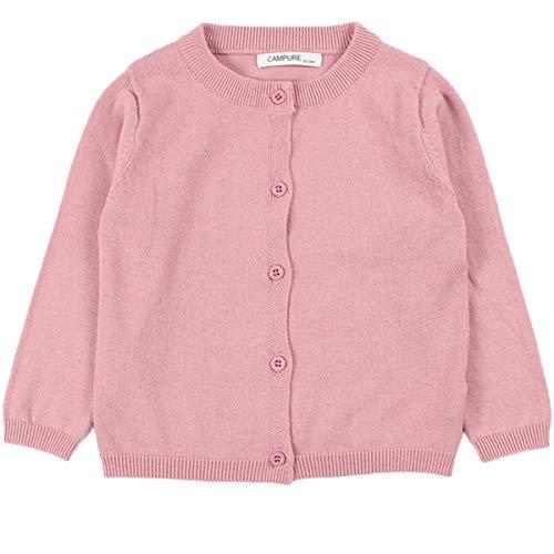 JELEUON Little Girls Cute Crew Neck Button-Down Solid Fine Knit Cardigan Sweaters 130cm