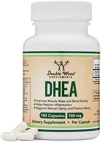 DHEA 100mg – 180 Capsules -Third Party Tested, Made in The USA (Max Strength, 6 Month Supply) Hormone Balance for Women and Men by Double Wood Supplements
