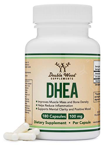 DHEA 100mg - 180 Capsules -Third Party Tested, Made in The USA (Max Strength, 6 Month Supply) Hormone Balance for Women and Men, Supports Healthy Libido by Double Wood Supplements