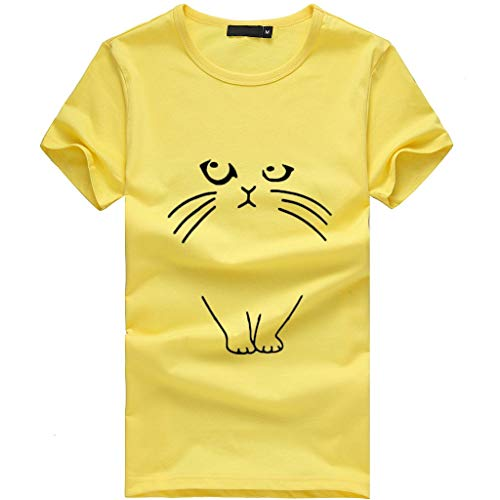 Sunhusing Ladies Kitten Pattern Print Short Sleeve T-Shirt Casual Joker Top Shirt Yellow