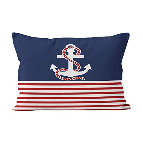 Sokiiy Nautical Red White Stripes and White Anchor Pretty Hidden Zipper Home Decorative Rectangle Throw Pillow Cover Cushion Case 16x24 Inch One Side Design Printed Pillowcase ()