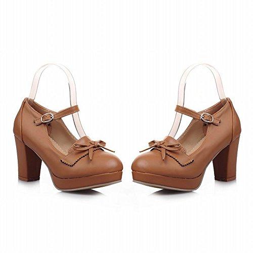Latasa Womens Fashion Bow Chunky Tacco Alto Scarpe Mary Janes, Pumps Shoes Giallo Scuro
