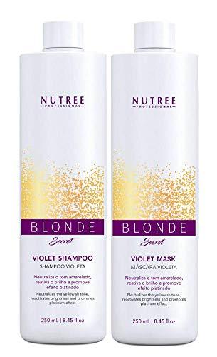 Violet Shampoo and Mask Blonde Secret Set 8.45 fl.oz - Anti Brass for Blonde Hair - Toning - Neutralizes the yellowish tone - Reactivates brightness - Promotes the platinum effect ()