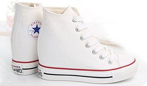 Heels plimsolls White Hidden Casual Colors With Women 4 Shoes Wedges Sneakers Canvas Platform TWqZ4c