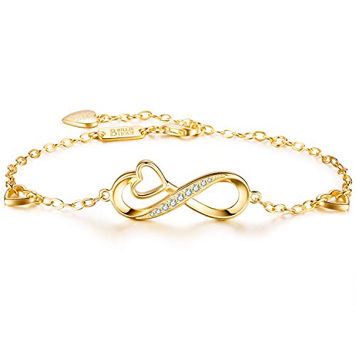 Billie Bijoux 925 Sterling Silver Infinity Heart Endless Love Symbol Charm Adjustable Bracelet White Gold Plated Women' s Gift for Christmas Day (C-Gold)