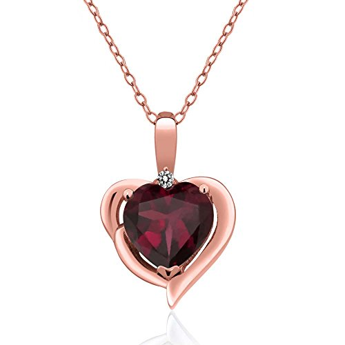Gem Stone King 2.02 Ct Red Rhodolite Garnet White Diamond 18K Rose Gold Plated Silver Pendant
