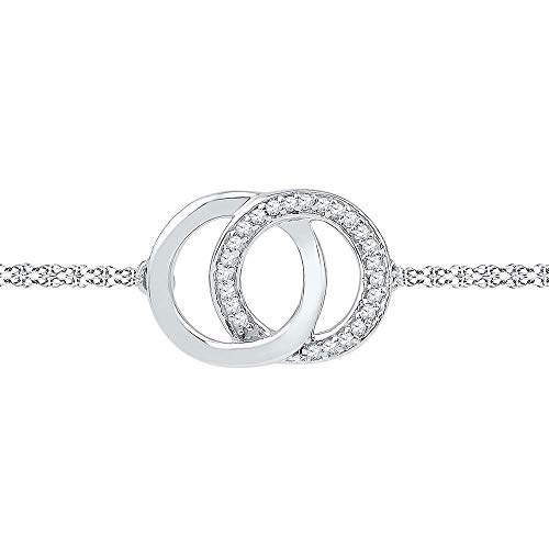 Jewels By Lux 10kt White Gold Womens Round Diamond Linked Circles Bracelet 1/12 Cttw In Prong Setting (I2 clarity; I-J color)