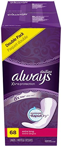 Always Pantiliner Max Protection Extra Long Dri-Liners, Unscented - 68 ct