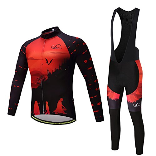 Cycearth Cycling Jersey Long Sleeve Set Men Winter Fleece Thermal Jackets Black Bib Pant (M, Ce477) Black Fleece Bibs