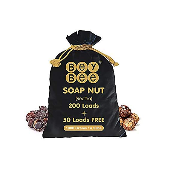 Bey Bee Reetha Soap Nut Shells for Laundry Detergent (800 Loads + Free 200 Loads) - 1900 Gm