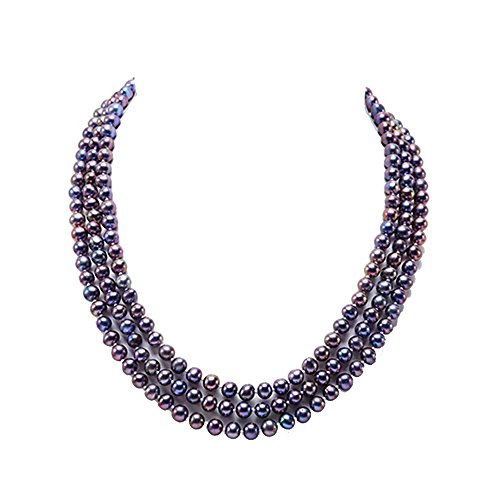 JYX Pearl Triple Strand Necklace 6-7mm Near Round Black Freshwater Pearl ()