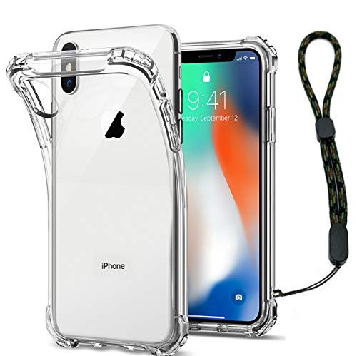 Calmpal iPhone Xs Max Case Crystal Clear Reinforced Corners Soft TPU Anti-Scratch Full Body Air Cushion Cover Case with Adjustable Camouflage Wrist Strap for iPhohe XS Max (6.5')