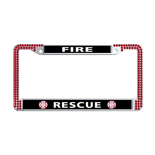 Toanovelty Fire EMT Rescue Firefighter Maltese Cross Bling Crystal License Plate Frame, Waterproof Red Bling Cute Car License Plate Holder 6' x 12' in ()