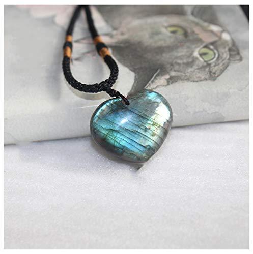 Tebapi Labradorite Pendant Necklace for Women, Natural Semi Precious Pendant with Braided Necklace for Women Men - Pendant Precious Semi Necklace Stone