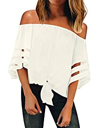 Womens Off Shoulder 3/4 Bell Sleeve Mesh Blouse Tie Knot Loose Top