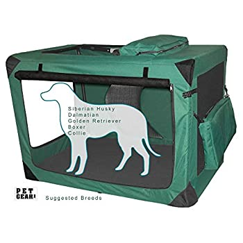 Image of Pet Gear 3 Door Portable Soft Crate, Folds Compact for Travel in Seconds No Tools Required, Comes with Comfort Pad + Storage Bag, Steel Frame, Premium 600D Fabric, Indoor/Outdoor Pet Supplies