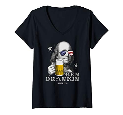 Beer Womens V-neck T-shirt - Womens Ben Drankin Shirt Funny 4th of July Franklin Patriotic Beer V-Neck T-Shirt