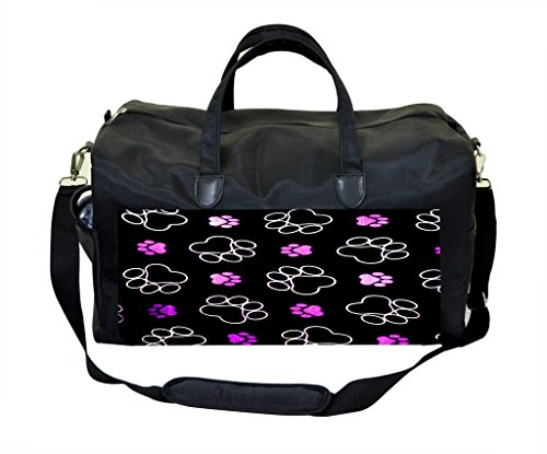 Purple Puppy Pawprints PU Leather and Suede Weekender Bag