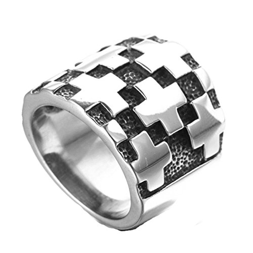 MoAndy Fashion Ring Men Stainless Steel Vintage Retro Silver Wide Version Cross Ring 3CM Size 13 Artcarved White Gold Cross