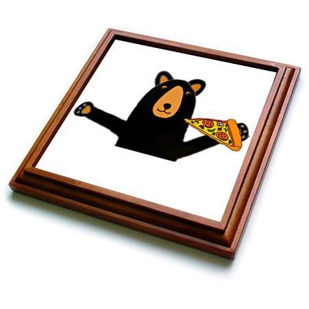 3dRose trv_255698_1 Funny Cute Black Bear Eating Pizza Trivet with Tile, 8'' x 8''