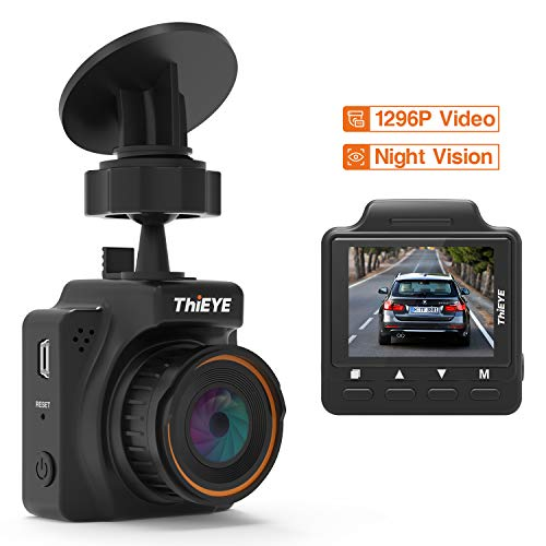 Dash Cam with Superior Night Vision, THiEYE Safeel One 1296P Full HD Video Car Dashboard Camera Recorder with 1.5 TFT LCD Screen, G-Sensor, Loop Recording, HDR, Motion Detection, Parking Monitor