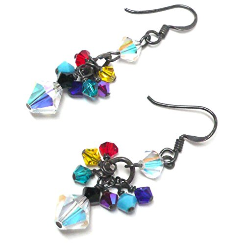 Multi-Color and Clear AB Austrian Crystal Cluster Drop Earrings Oxidized or Bright Sterling (Bright Austrian Crystals)