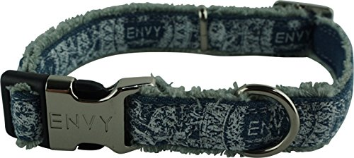 (Nipper & Chipper Envy Hippy Dog Collar, Medium, Blue)