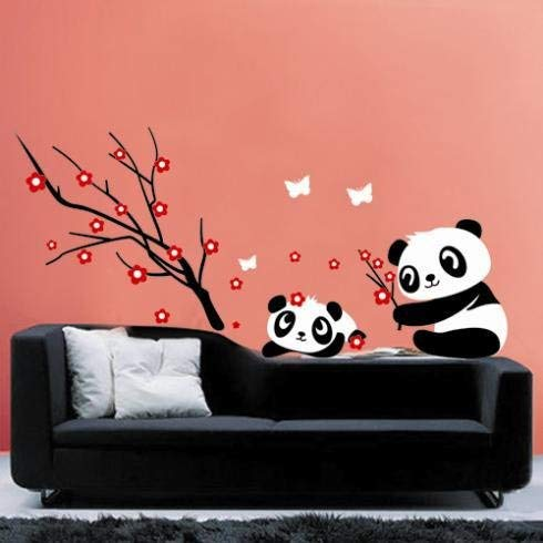Assyrian Two Lovely Baby Panda Wall Sticker Home Decoration And Cherry Blossom Tree - Wall Stickers