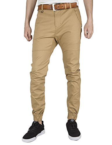 ITALY MORN Men Chino Jogger Pants Elastic Cuff Casual Pants Cotton Twill Khakis Slim Fit Black (Small, Khaki)