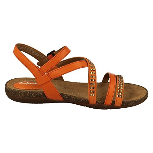 CLARKS Clarks Womens Sandal Autumn Peace Orange Leather 8.0