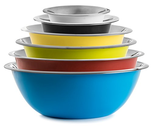 Stock Your Home Multicolor Stainless Steel Mixing Bowls and Serving Bowls-Set of 6 - 1/2 Qt, 1 Qt, 2 Qt, 3 Qt, 4 Qt and 5 Qt