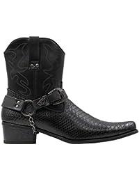 Shoes Men's Belt Buckle Metal Chain Snake Pattern with Side Zipper Cowboy Boots