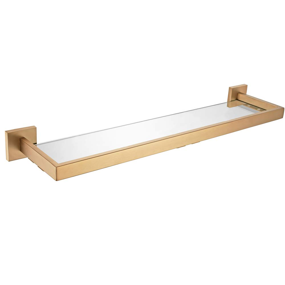 WINCASE Bathroom Glass Shelf, One Tier Organiser, Stainless Steel and Glass Wall Mounted, Retro Brushed Gold Finished