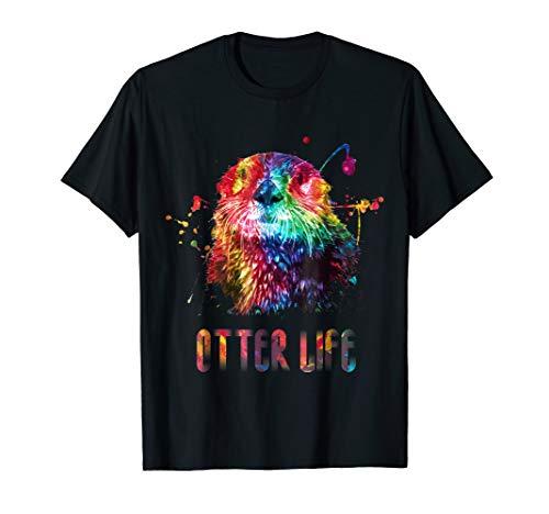 Sea Otter Life Rainbow Watercolor Bright Splatter - Beatnik Vibe